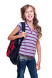 cheerful schoolgirl with rucksack