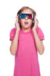 emotional little girl in 3d glasses