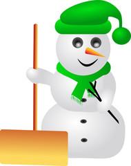 Schneemann mit Schneeschaufel