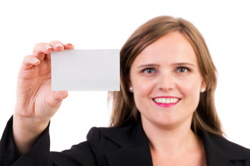 Smiling business woman holding a blank business card