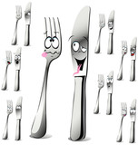 fork and knife cartoon