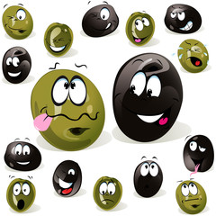 black and green olive cartoon with facial expression