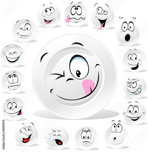 white plate cartoon with many expressions