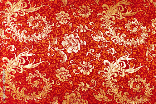 Red silk with floral pattern
