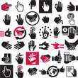 Hand icons set. Handshake. Black vector symbols collection.