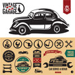 Vintage car garage labels and badges collection.