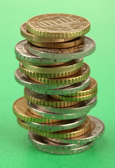 euro coins isolated on color background