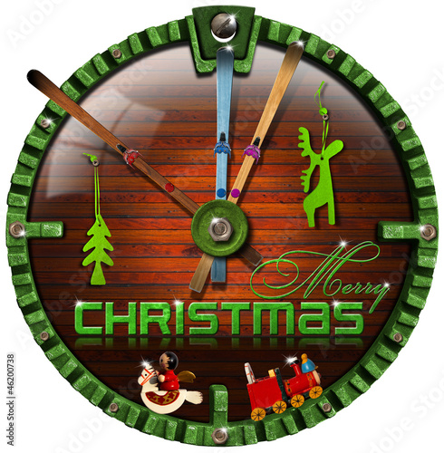 Merry Christmas Grunge Clock
