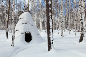 The winter Abiding-Place of the Evenks, Siberia, Russia