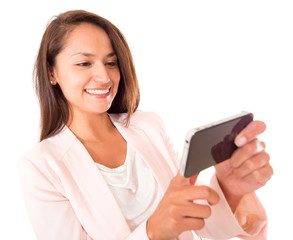 Woman using apps on her phone