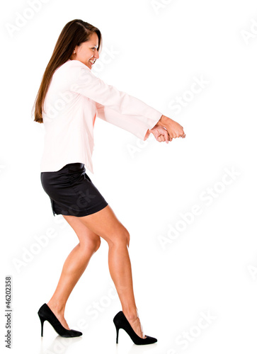 Business woman pulling something