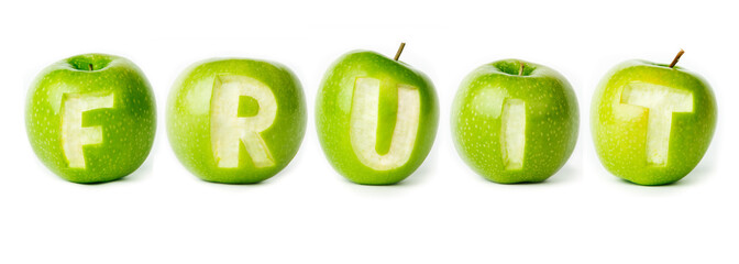 "Word ""fruit"" made of green apples."
