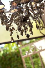 Maison, intérieur, véranda, lustre, salon, décoration