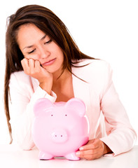 Upset woman needing money