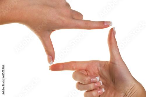 Hände machen einen Rahmen