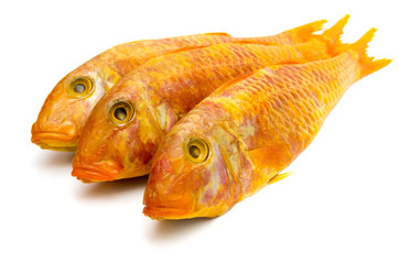 Smoked mullet on a white background