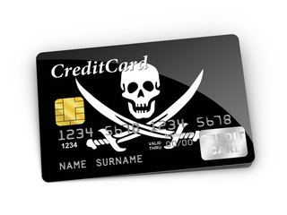 Credit Card covered with Pirate flag.
