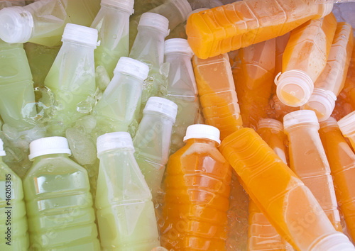 Bottles of Fruit Juices