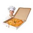 female cook with cooked pizza