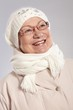 Winter portrait of happy elderly lady