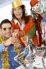 Office workers celebrating new year