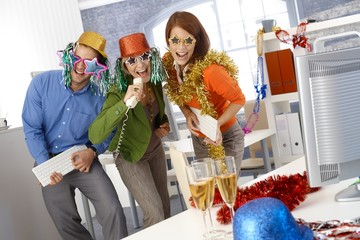 Funny new year eve party in office