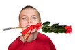 Boy With Red Rose in Teeth