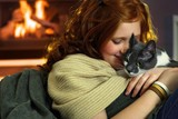 Teen girl with cat at home