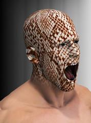 Mann mit Schlangenkopf
