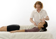 Постер, плакат: Kinesiologist treating neck muscles