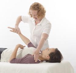 Kinesiologist treating Diaphragm