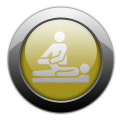 "Yellow Metallic Orb Button ""Physical Therapy"""