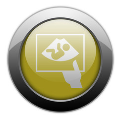 "Yellow Metallic Orb Button ""Ultrasound"""
