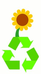 Sonnenblume auf Recyclinglogo