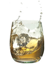 glass of  whisky splash