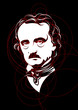 Edgar Allan Poe portrait mad with circles