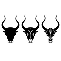 black and white bull head icons on white clean background