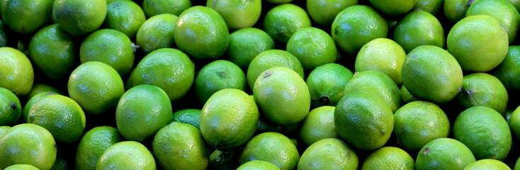 Lime fruits banner background