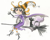 Halloween witch on broomstick watercolor