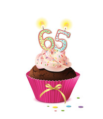 Cupcake mit Kerze und die Zahl 65