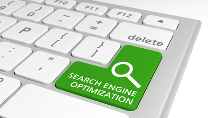 Green computer key with Search Engine Optimization