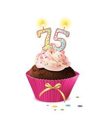 Cupcake mit Kerze und die Zahl 75