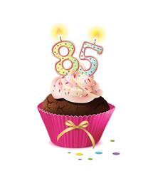 Cupcake mit Kerze und die Zahl 85