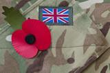 Fototapety Poppy on a british army uniform