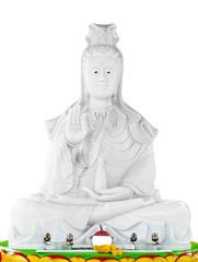 white jade stone carving Kuan Yin statue