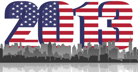 New York City on 2013 US flag background. vector fle