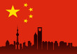 shanghai skyline on chinese flag background. vector fle