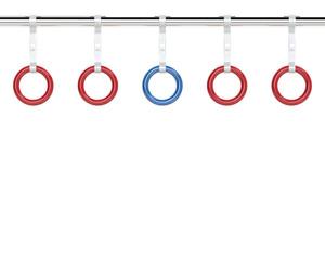 赤と青のつり革を使用した意思表示を示すイラスト