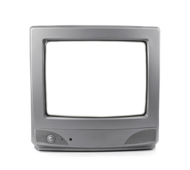 Old CRT TV with white screen