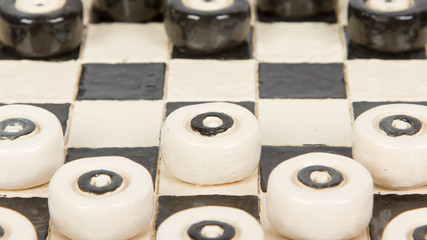 Very old game of checkers, pottery